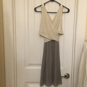 Anthropologie Amadi Lola dress. Cream & gray